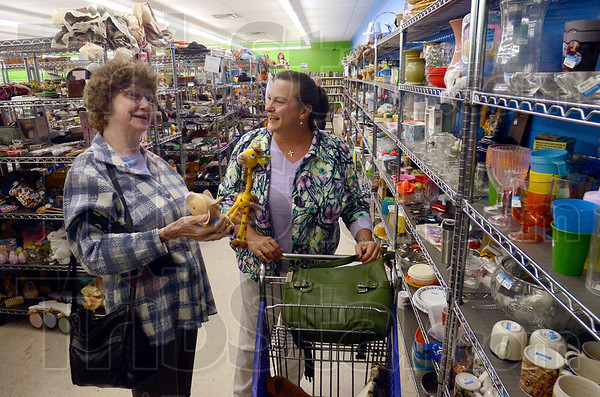 Tribune-Star/Joseph C. Garza<br /> Just a fun place to shop: Betty Casey of Sullivan and Brandy Kluesner of Dugger chat as they shop at the new Goodwill in Sullivan Tuesday.