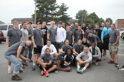 GWU Wrestling Team took a trip to Morganton, NC to do community service and help locals of Morganton paint, trim hedges, clear out trash, cut wood, carry groceries, shovel mulch, and much more Saturday morning September 29, 2012.