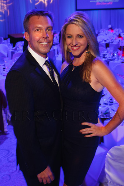 """Chad Graves and Amelia Earhart.  The 2012 Illumination Gala, themed """"Trip the Light Fantastic"""" and benefiting the Auraria Library, at The Denver Center for the Performing Arts, Seawell Ballroom, in Denver, Colorado, on Friday, Sept. 7, 2012.<br /> Photo Steve Peterson"""