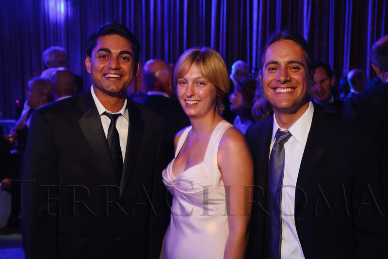 """Niraj Chaudhary, Heather Fleischman, and Joseph Sanchez.  The 2012 Illumination Gala, themed """"Trip the Light Fantastic"""" and benefiting the Auraria Library, at The Denver Center for the Performing Arts, Seawell Ballroom, in Denver, Colorado, on Friday, Sept. 7, 2012.<br /> Photo Steve Peterson"""