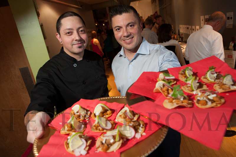 A posole appetizer from El Chingon, presented by David Lopez and Lorenz Nunez, Jr.  Rojo Cancion, a benefit for Museo de las Americas, at Su Teatro in Denver, Colorado, on Friday, Sept. 14, 2012.<br /> Photo Steve Peterson
