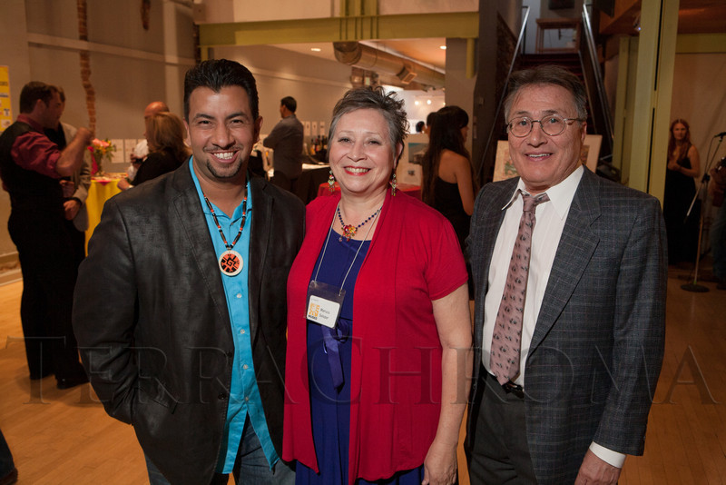 Paul Lopez (honorary chair), Maruca Salazar, and George Martinez (board of trustees chair).  Rojo Cancion, a benefit for Museo de las Americas, at Su Teatro in Denver, Colorado, on Friday, Sept. 14, 2012.<br /> Photo Steve Peterson