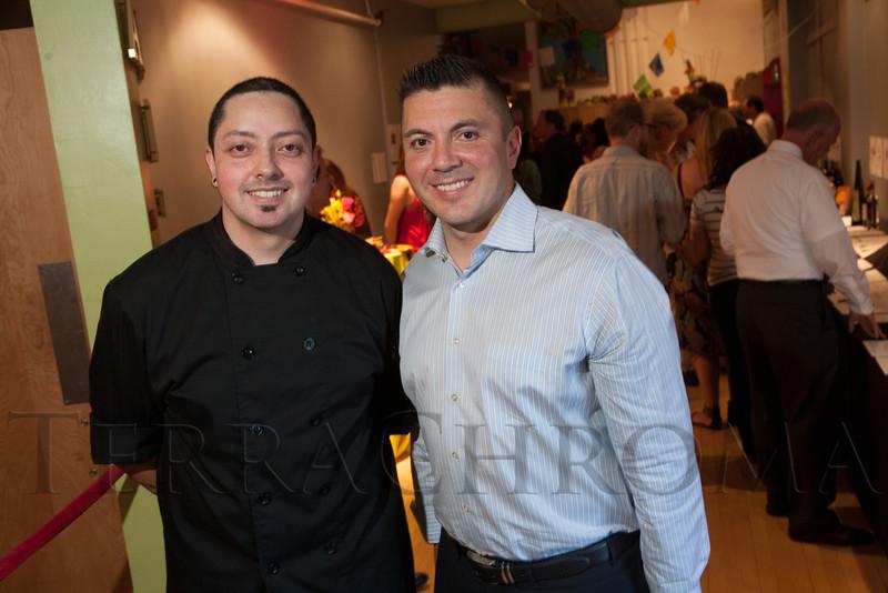 David Lopez and Lorenz Nunez, Jr., of El Chingon.  Rojo Cancion, a benefit for Museo de las Americas, at Su Teatro in Denver, Colorado, on Friday, Sept. 14, 2012.<br /> Photo Steve Peterson