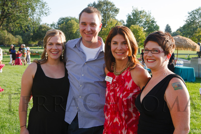 Betsy Fordyce (CLC staff attorney), Chris Henderson (CLC staff attorney), Stephanie Villafuerte (CLC executive director), and Shannon Lowe (CLC development director).  Havana Nights, a benefit for Children's Law Center, at the Denver City Park Pavilion in Denver, Colorado, on Saturday, Sept. 15, 2012.<br /> Photo Steve Peterson