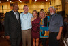 At the Volunteers of America table:  Emmit Searuggs, Zachary Kellerman, Jordan Sanders, Clare and Dale Compton.  Starfish and Dreams 'n All That Jazz gala, benefiting Arc Thrift Stores, at the Gold Crown Field House in Lakewood, Colorado, on Friday, Sept. 21, 2012.<br /> Photo Steve Peterson