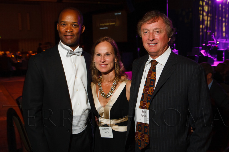 Alec Wynne (BP board of directors chair) with Suzanne and Bob Fanch.  The Bridge Project 21st Annual Gala, at the Hyatt Regency Denver at the Colorado Convention Center in Denver, Colorado, on Saturday, Sept. 29, 2012.<br /> Photo Steve Peterson