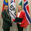 Shahid Bashir, Ambassador, Permanent Mission of Pakistan to WTO, Geneva (left), and Aurelia Frick, Minister of Foreign Affairs, Liechtenstein, at the signing of Joint Declaration on Cooperation between Pakistan and the EFTA States on 12 November 2012, Geneva. (Photo: EFTA)