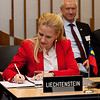 Aurelia Frick, Minister of Foreign Affairs, Liechtenstein, signing the Joint Declaration on Cooperation between Pakistan and the EFTA States on 12 November 2012, Geneva. (Photo: EFTA)