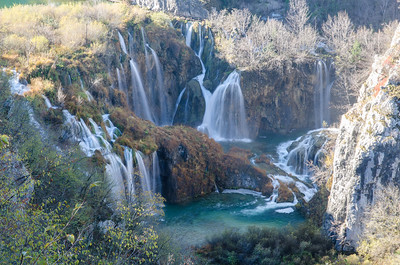 Plitvice Lakes, Croatia.  Mosses created dams across the stream creating a chain of lakes that pour into each other.