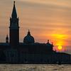 Setting sun behind Chiesa di San Giorgio Maggiore.
