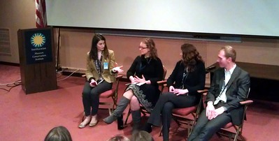 Social media panel, featuring (from left) Sarah Sulick (@sarahtsulick / @smithsonian), Erin Blasco (@erinblasco / @OWNEYTHEDOG), Vicki Portway (@sluggernova / @airandspace), and Brian Ireley (@brireley / YouTube: SmithsonianVideos)