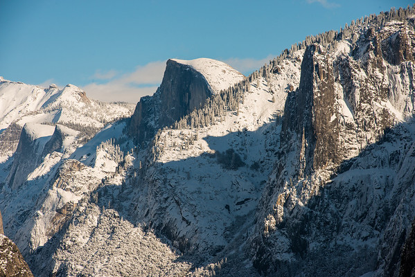 Snow covered half dome, from tunnel view