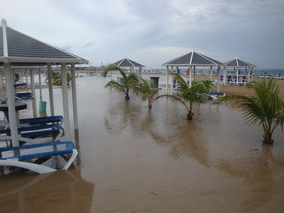 Unfortunately the Marriott beach was still suffering the effects of the storm.