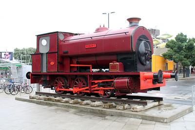 Steam 0-6-0 2068  'Robert' stands outside Stratford Station.