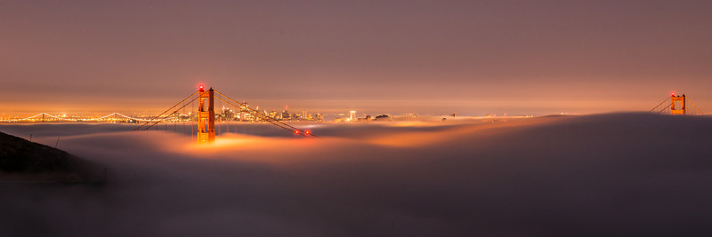 Pano of the low fog from earlier in the morning … at the Thread the Needle location (can you make out the Transamerica building inside the north tower?)