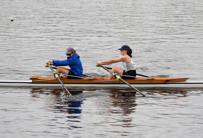 Eva and Olivia rowing down to the start