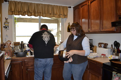 Allan and Michelle doing dishes