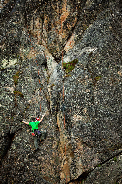 Alone on the wall, John finds his way up <i>Tic Toc 5.8</i> on The Diamond.
