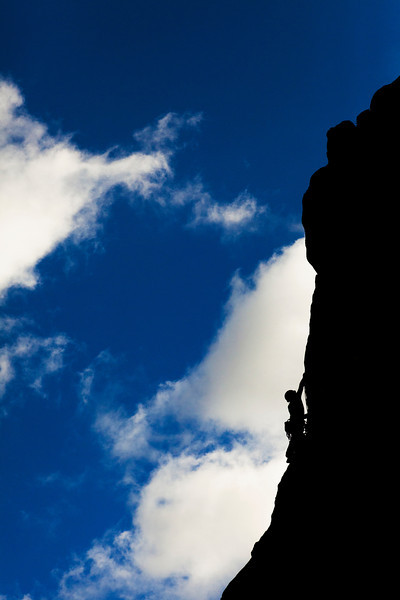 A bold evening sky outlines John Saari, high up on <i>Tic Toc 5.8</i>.