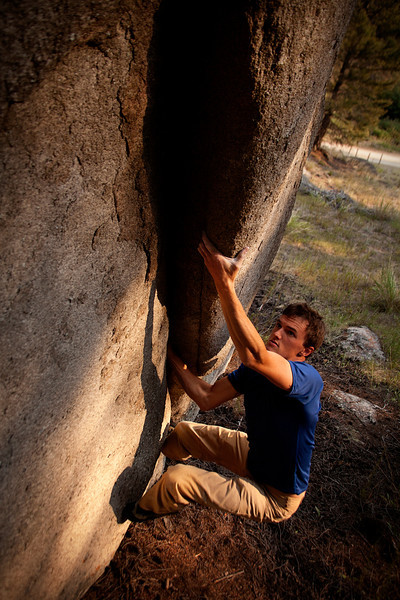 Ty pulls through some evening boulder problems in preparation for tomorrow's climb.