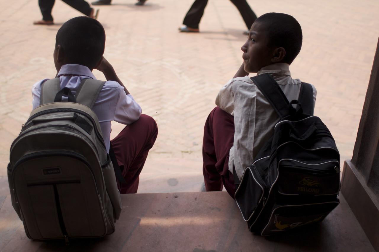 School Boys at Boudhanath - Ellen Winn (K'68, Haverford '97)