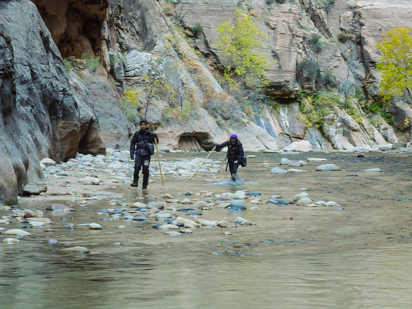Willie and Yan trudging through the narrows