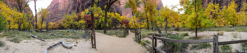 Pano of the virgin river along the temple of sinawava
