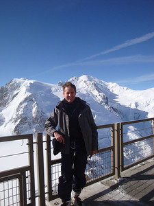 There is a viewing platform on top of the mountain. Mt Blanc is visible across the valley behind.