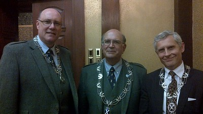 Brian MacKenzie, Second Vice-President, Bruce Bolton, President and Scot Diamond, First Vice-President, after re-appointment at Council meeting after 2012 Annual General Meeting