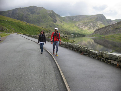 Meanwhile, Roger, who was actually smart enough to know how to operate his GPS, had consequently marched happily through the thick cloud, bypassing those of us staggering in circles somewhere nearby, and had arrived at the Lake Ogwen (see here) checkpoint now two hours ahead of us.