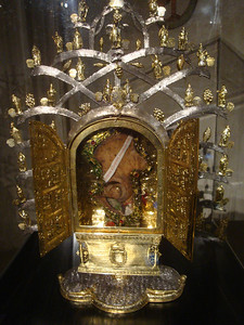 This reliquary contained the right pelvis of one of the early priests!