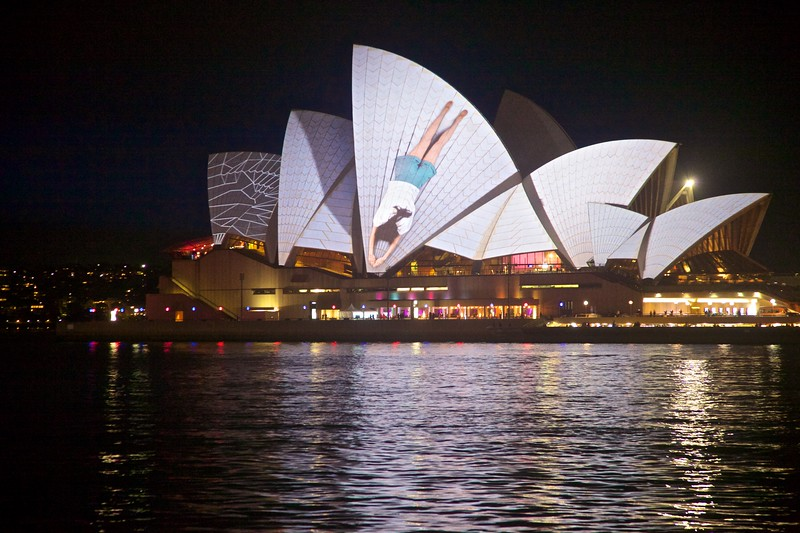 Some of the surrealist projections on the Opera House.