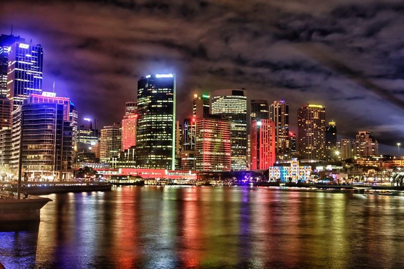 Many of the buildings around Circular Quay were involved in light displays.