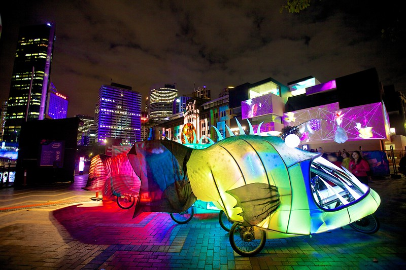 Ethereal fish on tricycles were frequently moving around the Circular Quay area during the Vivid Sydney festival.