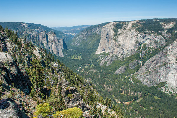 View of Yosemite Valley, looking towards El Capitan, as seen from a scenic viewpoint somewhere on the Pohono Trail between Sentinal Dome and Taft Point.