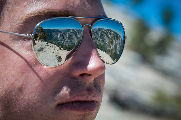 Yosemite Falls seen through Jared's sunglasses!