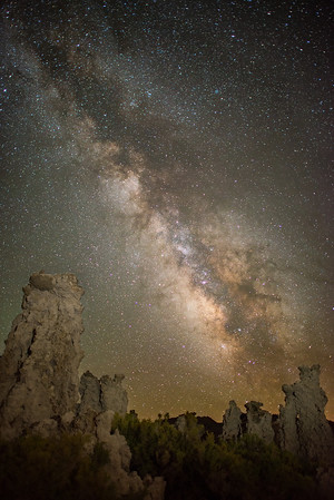 Willie and I both rented the 24mm f/1.4 lenses for this trip so that we could capture both the Perseid Meteor Shower but also the Milky Way. The Milky Way wasn't in the most ideal position for photographing the Tufa's at Mono Lake, but we tried it anyways. I liked here how the milky way almost looks like a meteor -- shooting through the sky towards the Tufa's.