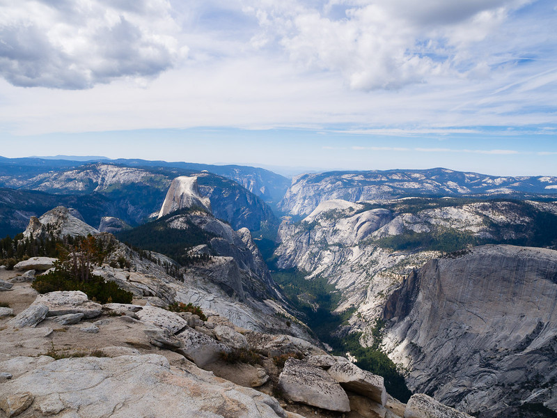 Half Dome and Yosemite Valley in profile