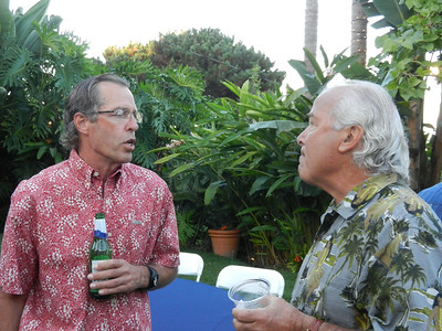 Jay Harkenrider and Steve Stepanek, two old surfers, talking about the good times in Mexico.