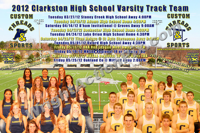 Order your 2012 Varsity Track Promotional Poster TODAY!  All sale proceeds benefit Clarkston Track!  Available in 8 x 12, 12 x 18, 16 x 24, a very large 20 x 30 size and the mega giant 24 x 36 inch size.  Printed by a professional photo lab on professional photo paper.