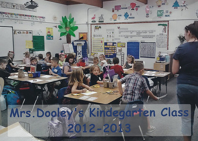 Mrs. Dooley's Kindergarten class getting ready for their first day of Kindergarten!