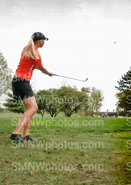 Senior Whitney McMillon tees the ball on Sept. 27.