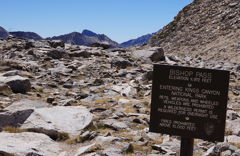 If you follow the trail beyond this sign, you descend into Kings Canyon National Park and eventually meet up with the famous John Muir Trail.