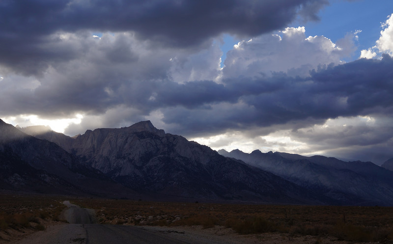 This last photo of the day was taken as I was driving out of the mountains towards the town of Lone Pine, CA on my way home.  This was in my rear view mirror.