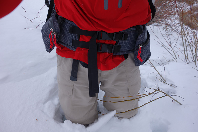 Postholing up to my thighs meant it was beyond the proper time to get the snowshoes off my pack and onto my feet to avoid this fatiguing scenario.
