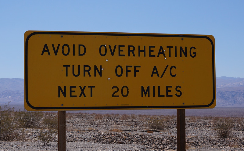 This sign was at Stovepipe Wells where the temperature was 117F.  The elevation here is about 10 feet above sea level.  I headed west from here at a continual climb to 4,000 feet above sea level, where the temp was in the upper 90s.