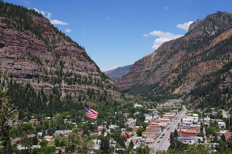 Looking south over Ouray, Colorado.  The main drag at the far end of town in this photo is the only way out of town that is not up.