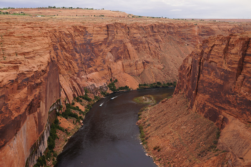 This photo is looking off the opposite side of the bridge to the downstream side of the Glen Canyon Dam.