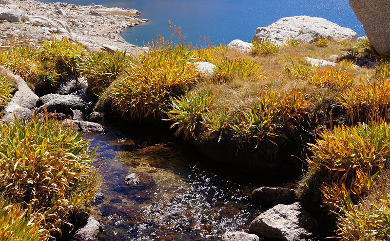 A stream flowing in the direction of Sky Blue Lake below.