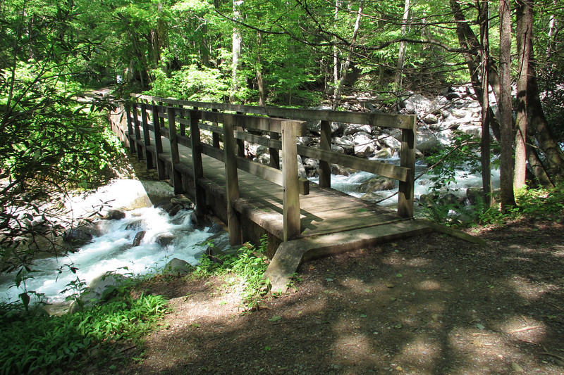 Beginning of the Ramsey's Cascades Trail at Little Pigeon River.